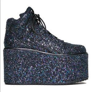 YRU Qozmo black glitter platforms